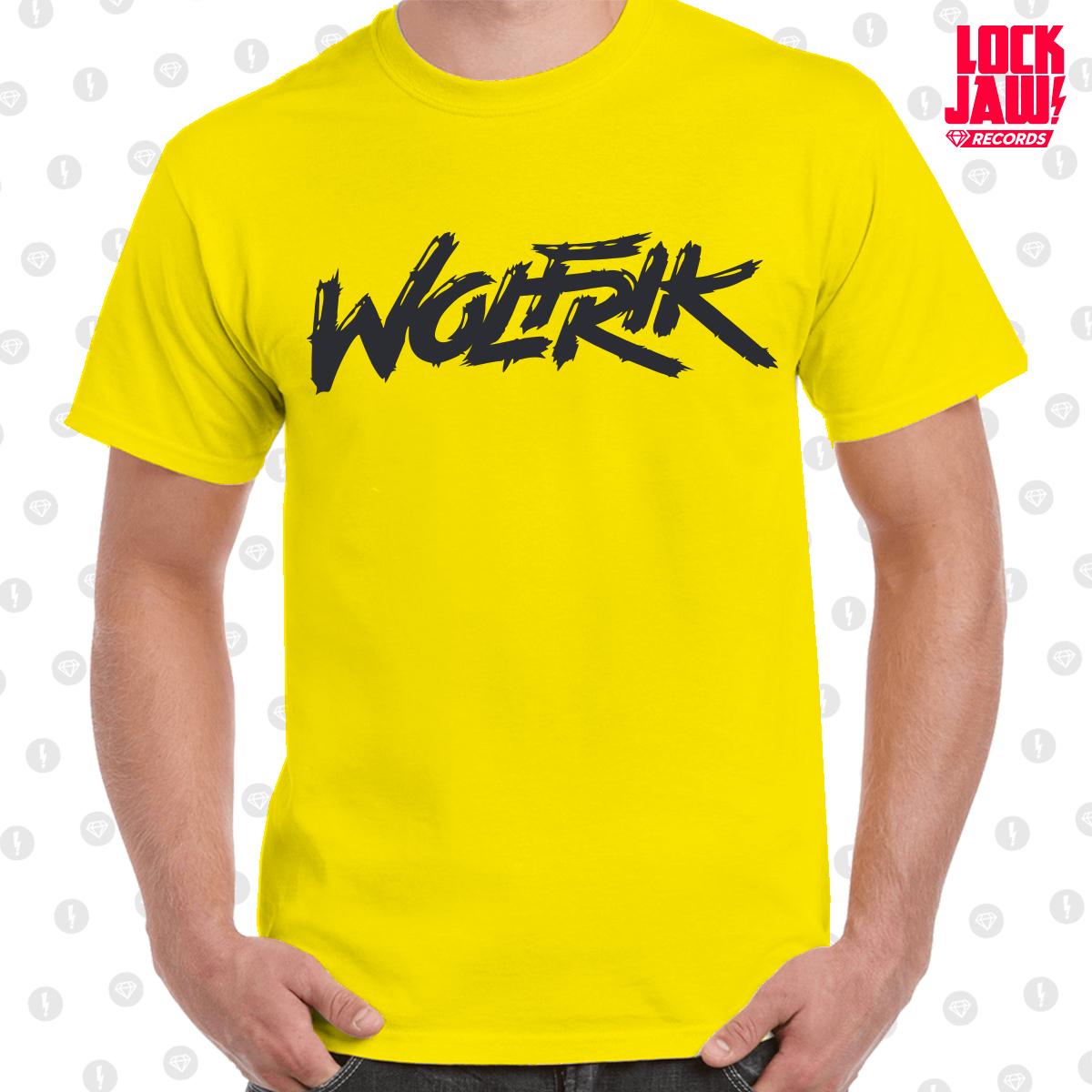 b635c57b Wolfrik - Logo T-Shirt - Yellow With Black Print - Lockjaw Records