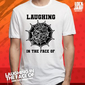 Laughing in the face of white t-shirt
